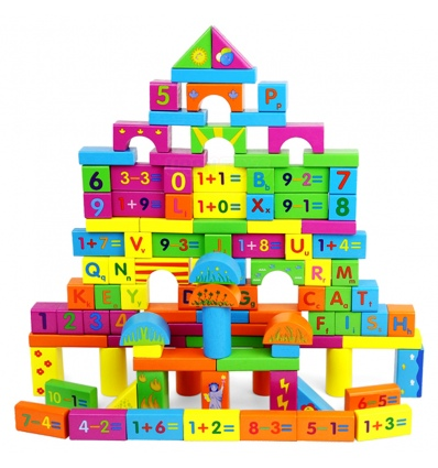 URBN-TOYS 100 Pcs Wooden Number Building Blocks [390701](AC7673)