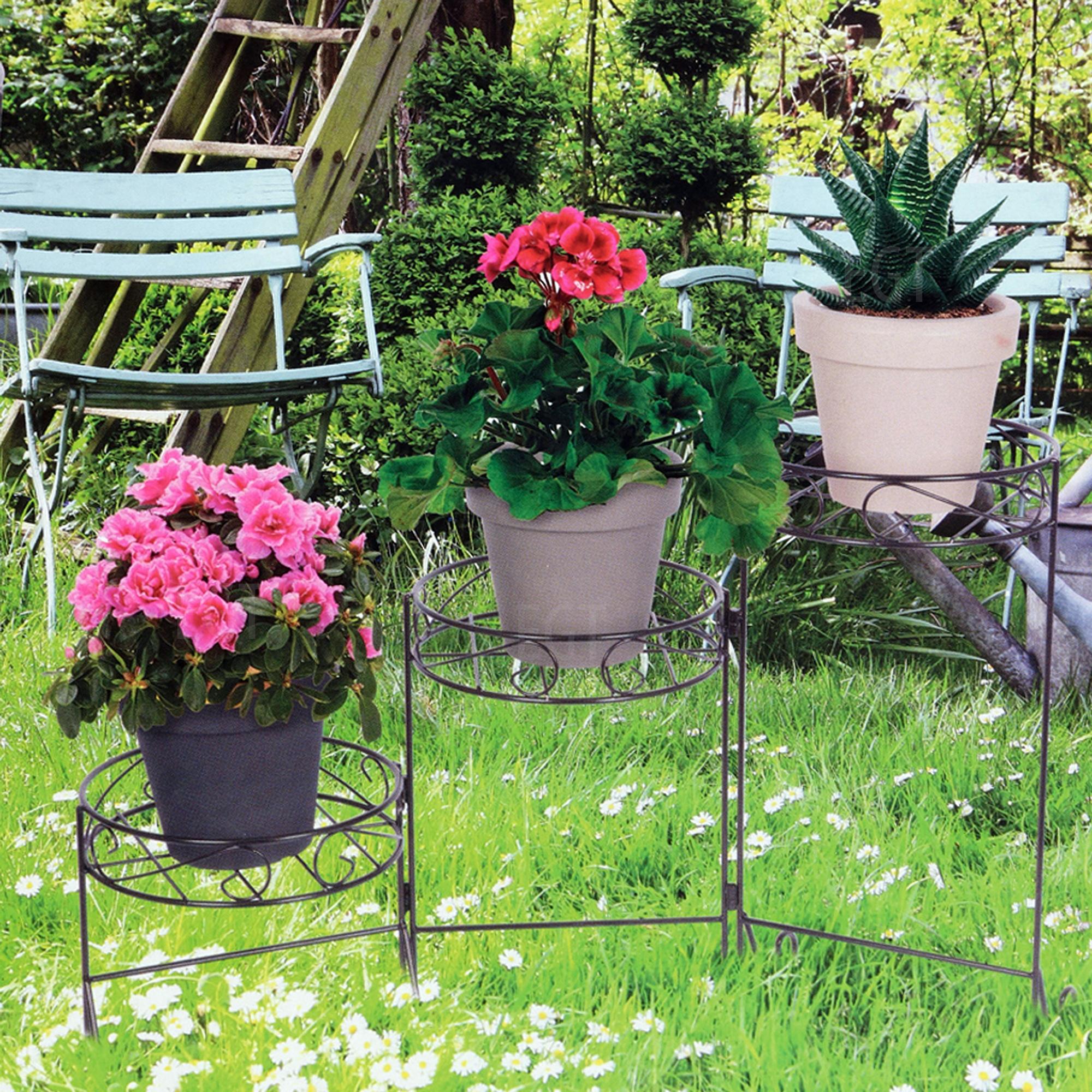 3 Tier Metal Plant Stand Garden Flowers Greenery Rustproof Patio