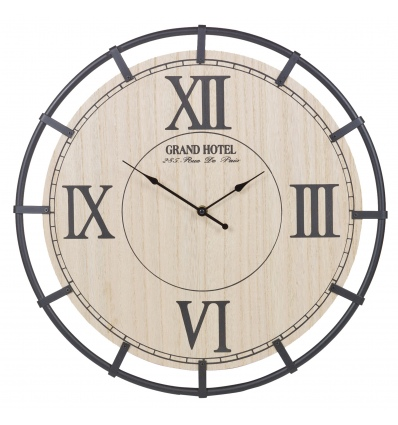 Wooden Clock With Metal Frame [946796]