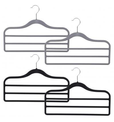 Set of 2 Flocked Velvet 3 Bar Trouser Hangers [001355]