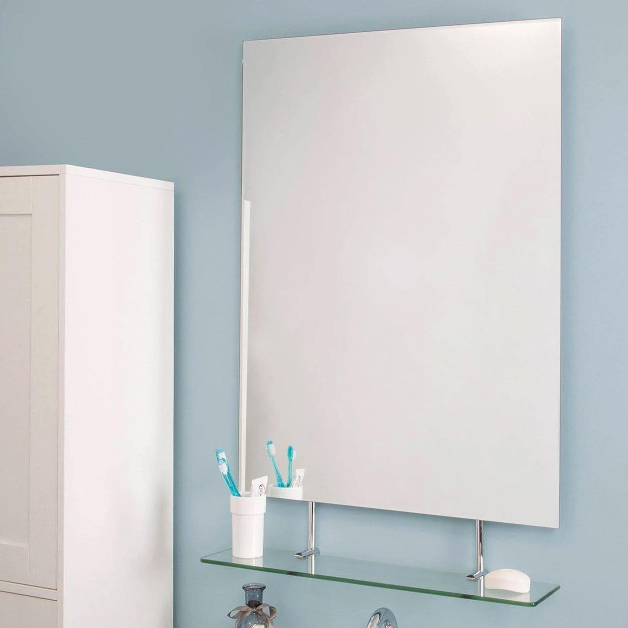 Croydex Helton Large Wall Hanging Bathroom Mirror Glass Cosmetic Shelf 95x65cm Ebay