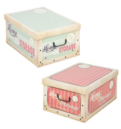 2 Collapsible Storage Boxes With Handles 37x31x16 cm[Vintage Storage Boxes [147773] Pink & Green
