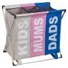 3 Section Multi Colour Laundry Baskets