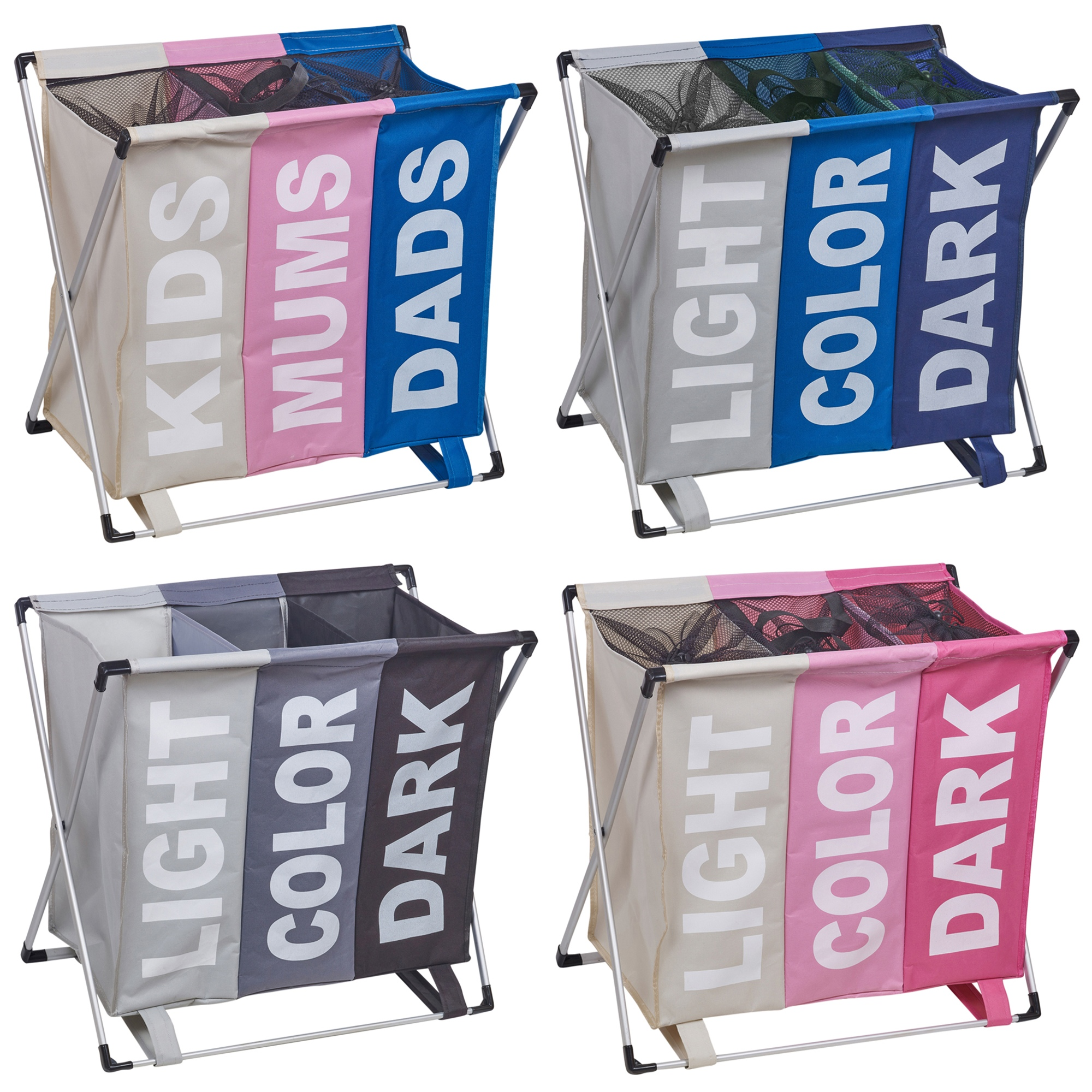 Compartments for Light Coloured /& dark Clothes Pink /& Grey Foldable URBNLIVING 3 Section Woven Fabric Laundry Hamper Basket /& Organiser Rack