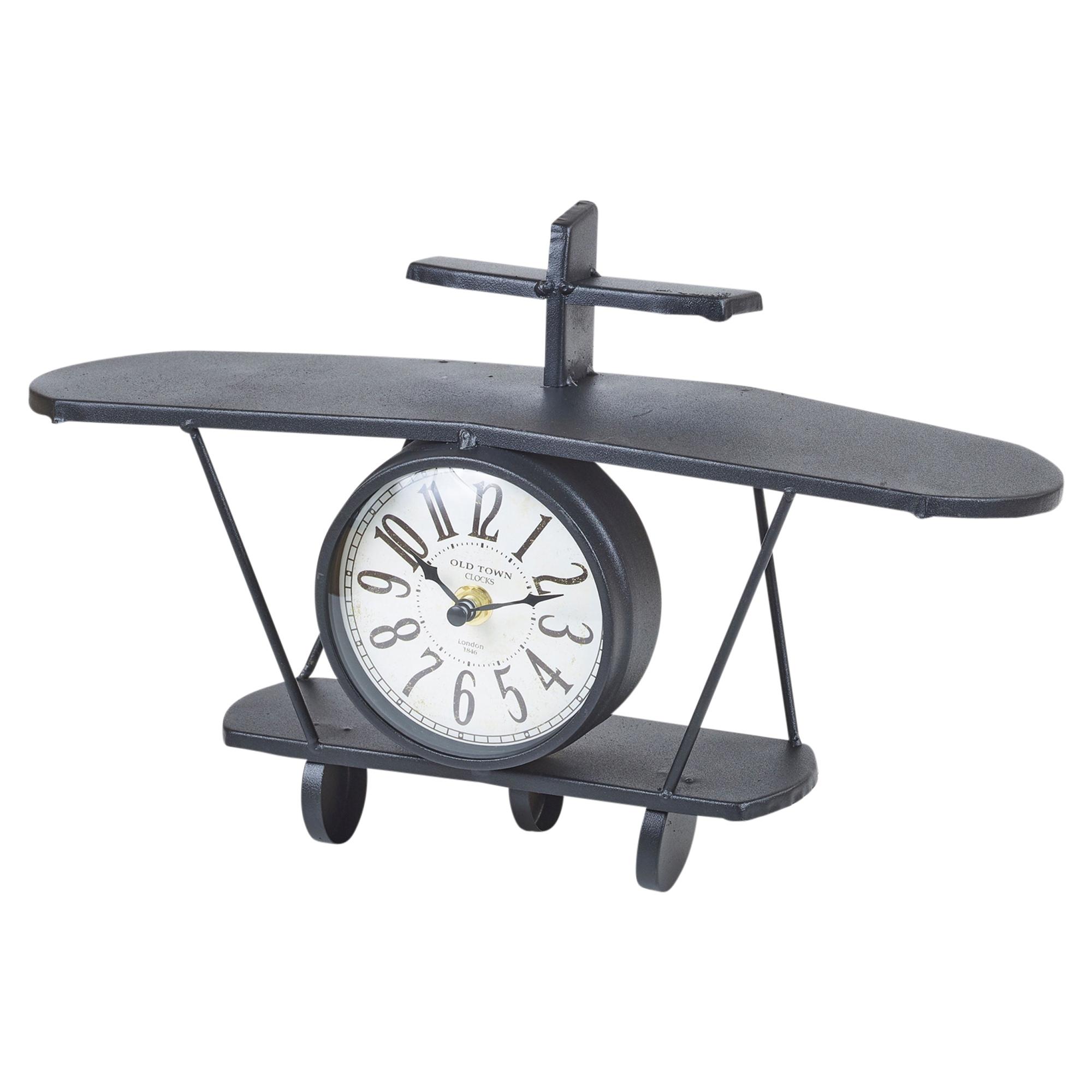 Bookcase /& Shelf Filler 37 x 10 x 20 cm URBNLIVING Novelty Air Plane Clock for Home /& Office Decor 2 Small