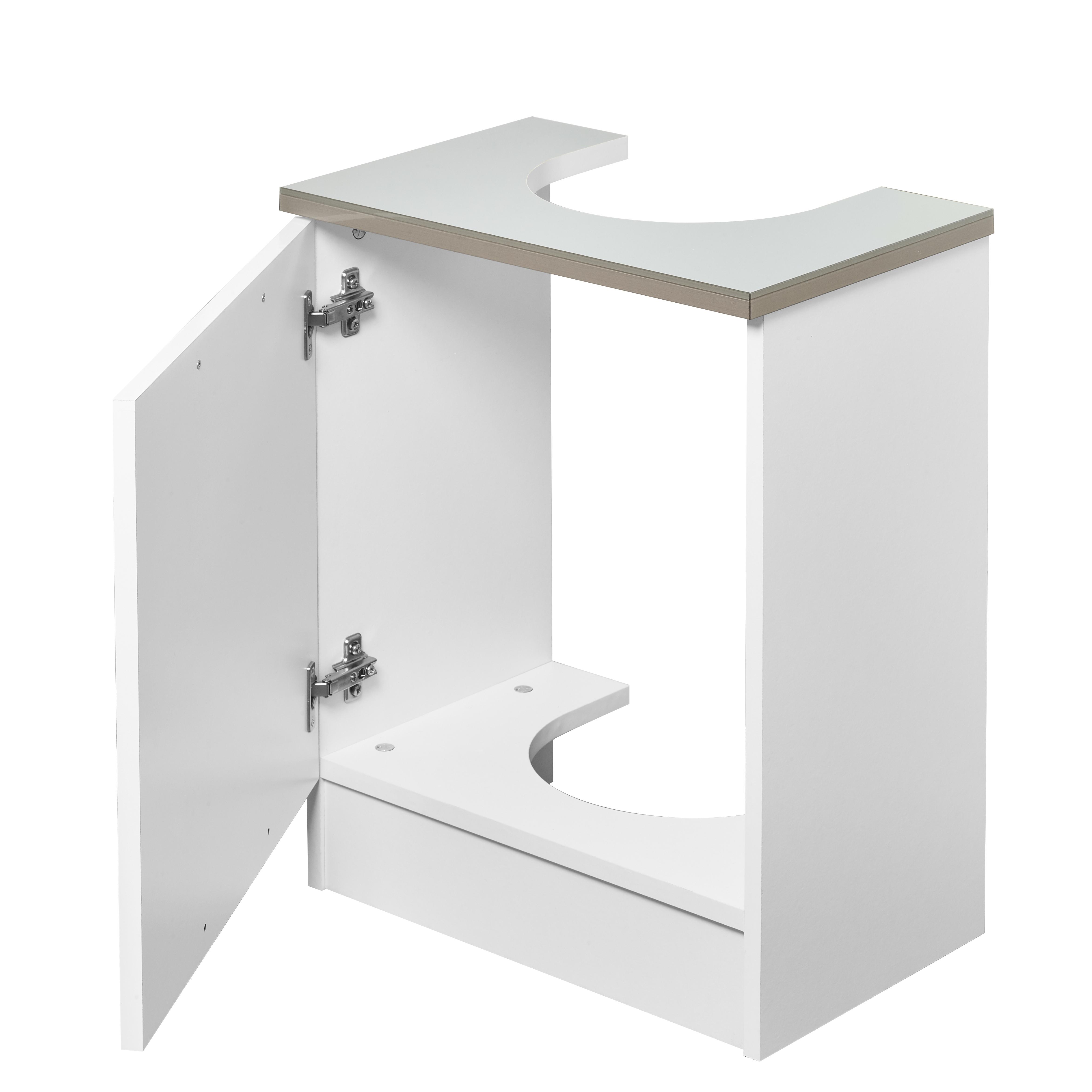 Tamar Under Sink White Grey Vanity Unit Wooden Storage ...