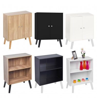 2 Tier Bookcase With Or Without Doors & Scandinavian Legs