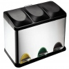STAINLESS STEEL RECYCLING PEDAL BIN WITH BLACK LIDS