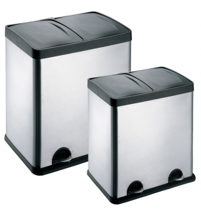 2 COMPARTMENT STAINLESS STEEL SATIN FINISH PEDAL BIN