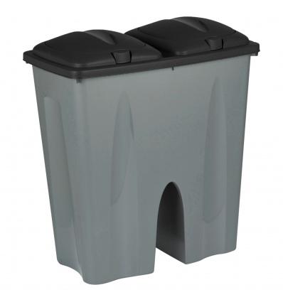 Black Square Duo Recycling Bin [129018]