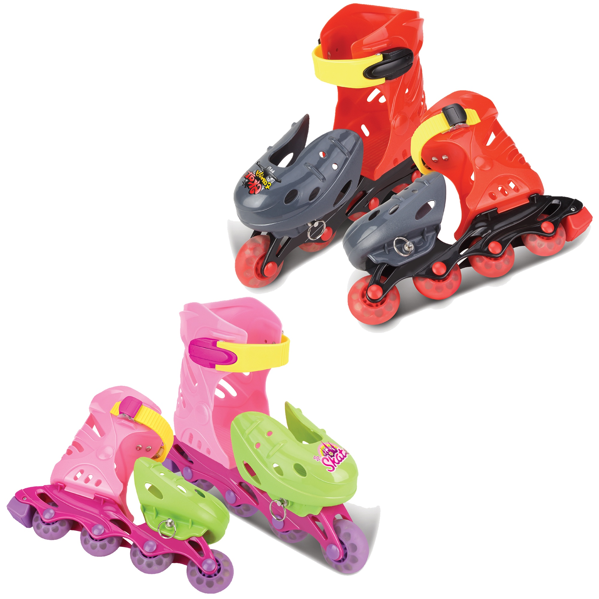 Available in Red//Black /& Pink//Green URBN Toys Size 10.5-15 Adjustable Kids Childrens Roller Skates Blades In-Liners with 4 Wheels for Skating Outdoors