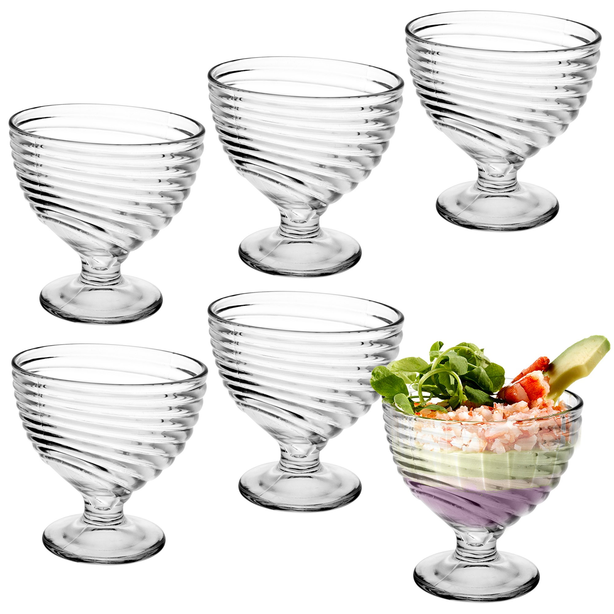 6 Ice Cream Sundae Glass Footed Appetizer Dessert Cocktail Fruit Pudding Dishes Cup and Saucer Tableware, Serving & Linen