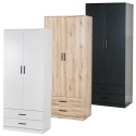 Tall 2 Door Wardrobe With 2 Drawers