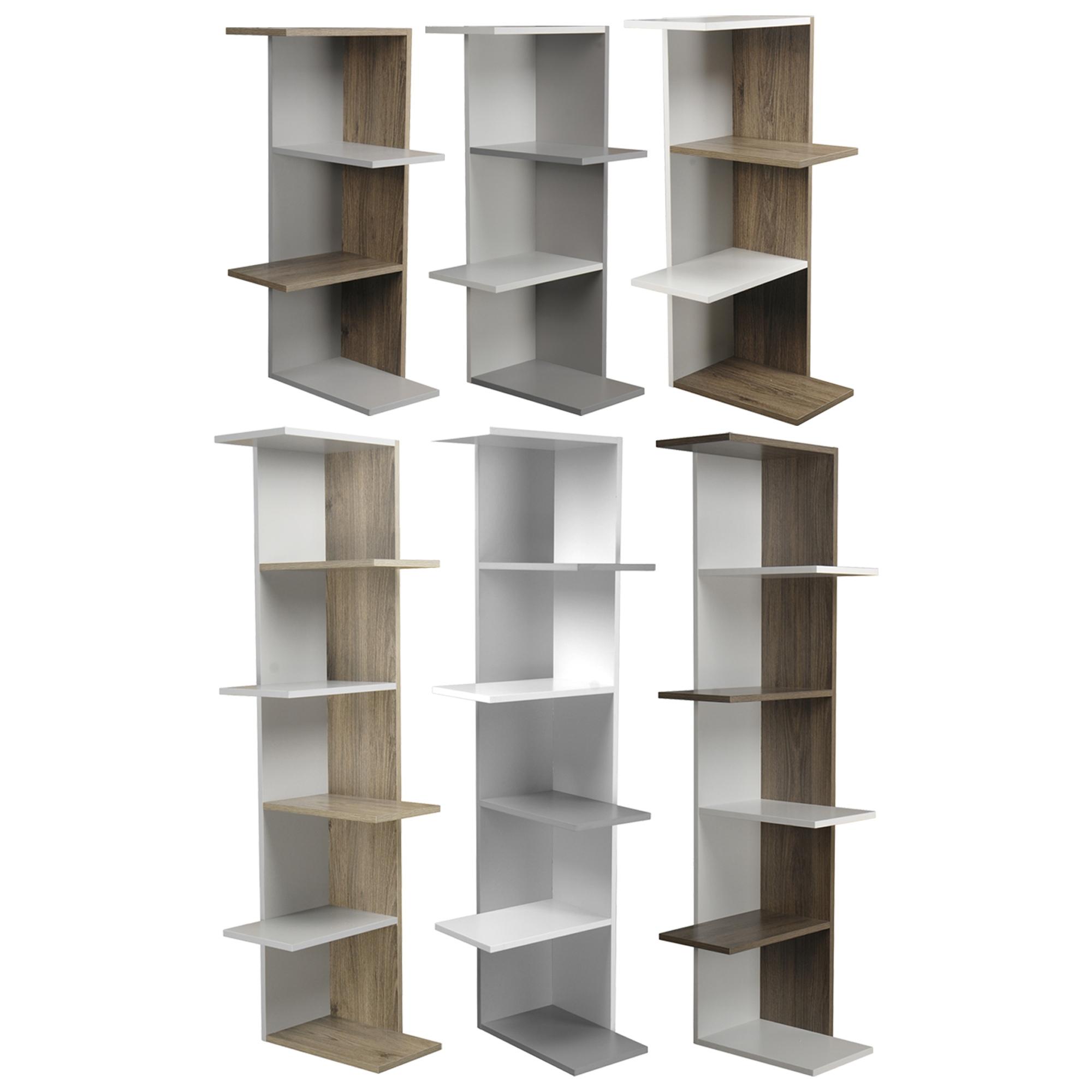 Details about Wooden Modern Corner Bookcase Shelves Living Room Storage  Free Standing Display