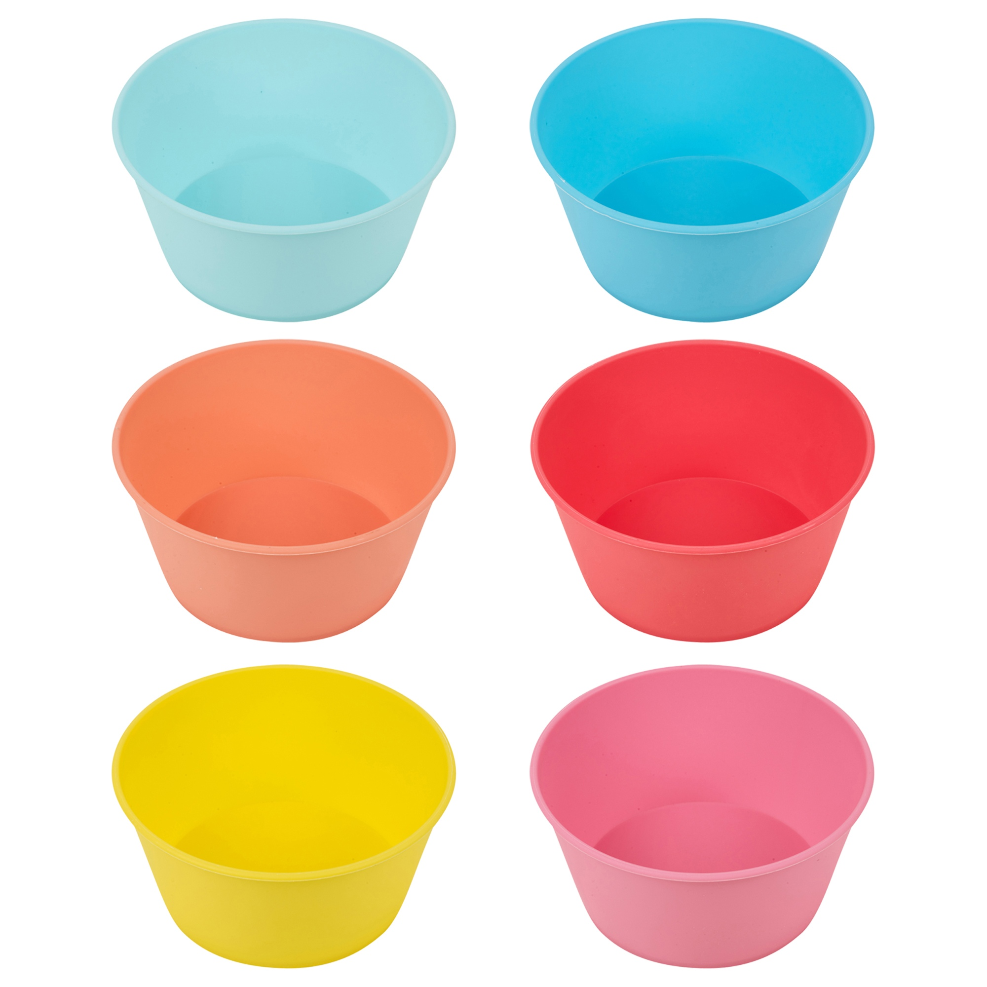 6x Colorful Reusable Plastic Outdoor Childrens Picnic Party Bowls and Plates Set