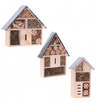 Insect Hotel Wood Metal Roof