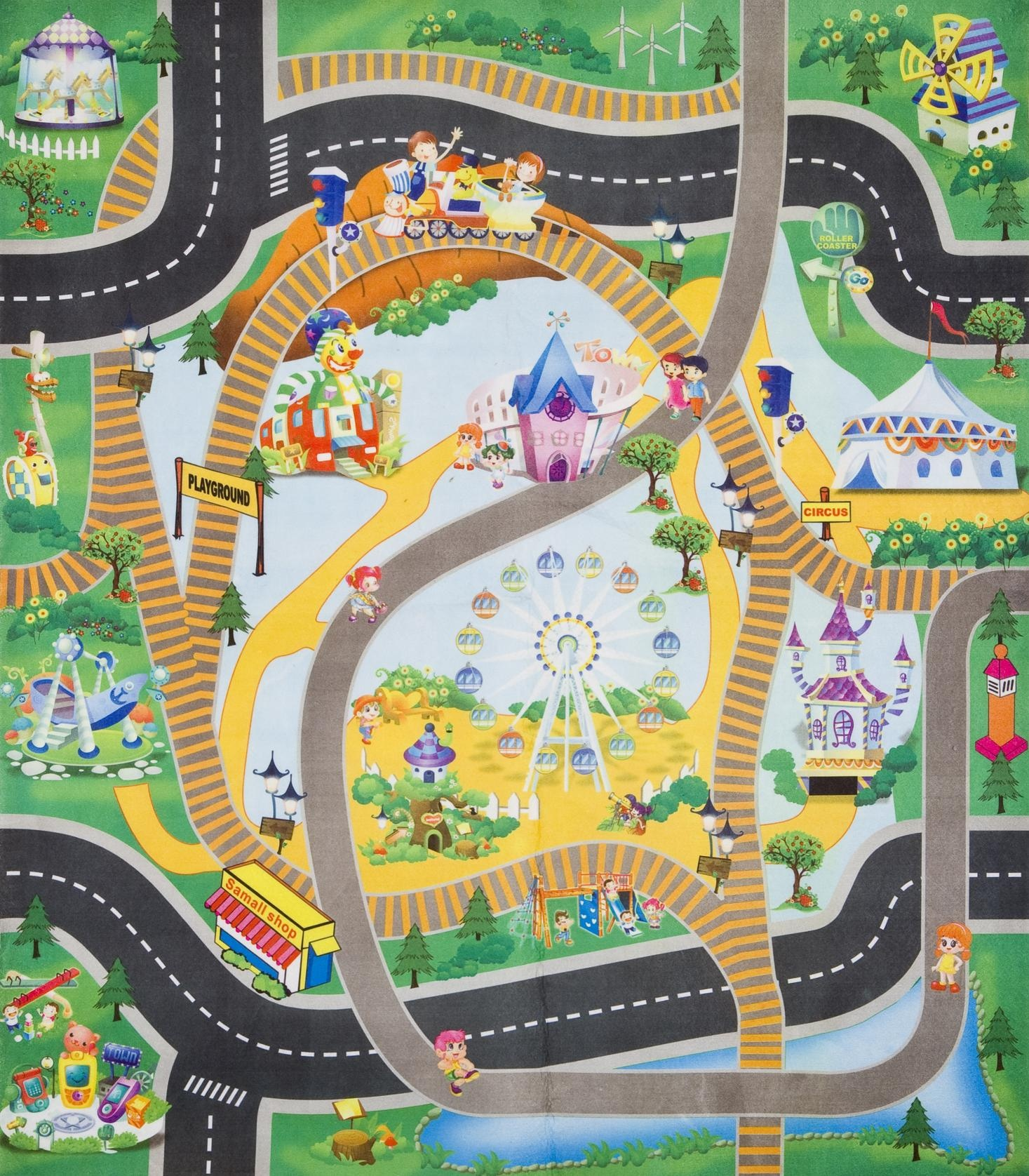Childrens Kids Boys Car & Road Role Play Roll Up Play Mat