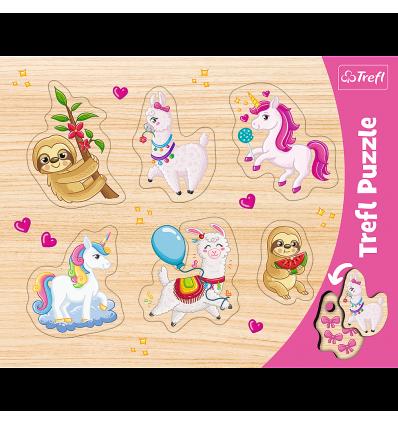 """Puzzles - """"Frame Shaped Puzzles"""" - Unicorns, lammas and sloths / Trefl [31311]"""
