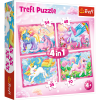 """Puzzles - """"4in1"""" - The magical world of unicorns / Trefl [34321]"""
