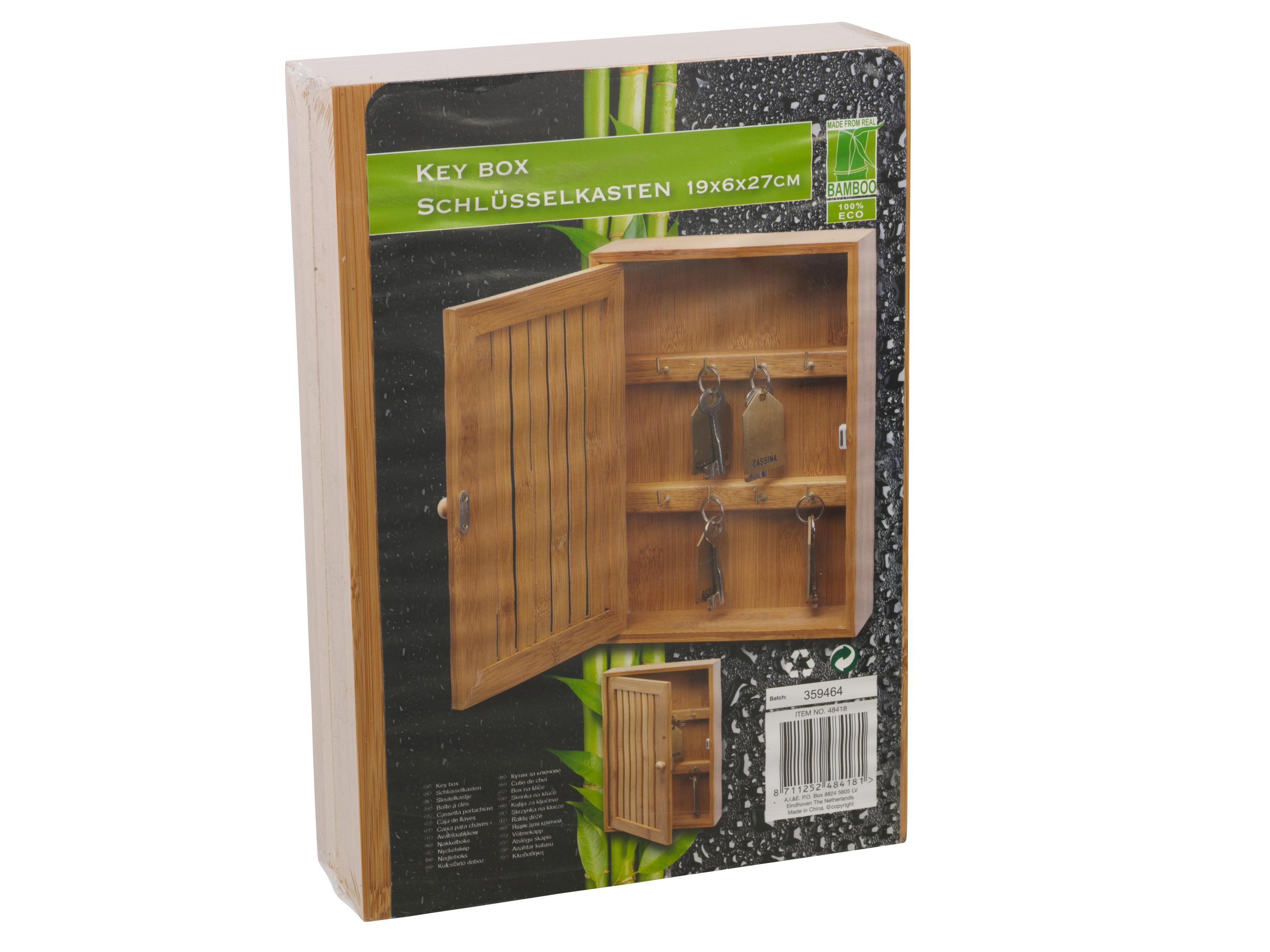 Bamboo Wall Mounted Key Box & Brackets Cupboard Hooks
