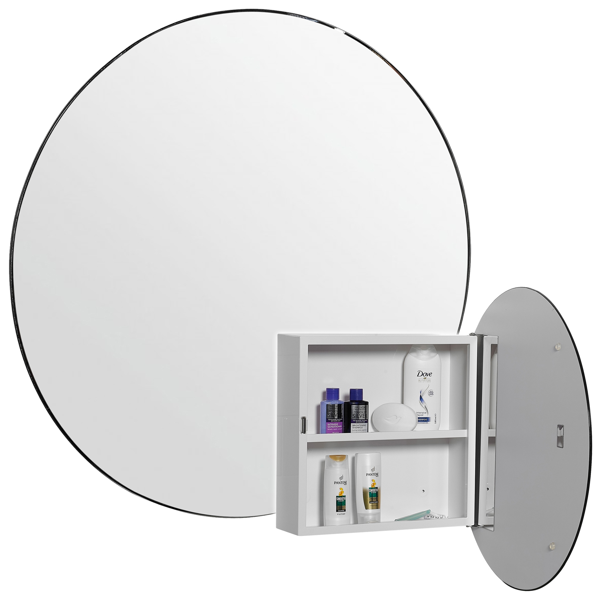 Round Steel Bathroom Mirror Cabinet Wall Mounted Storage 1 Shelf Modern Design 5012044093332 Ebay