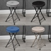 Folding Stool with Velvet Cushion