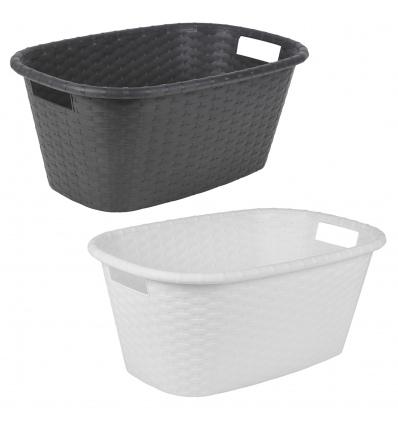 Plastic Rattan Laundry Baskets 60X40X25cm [650900]
