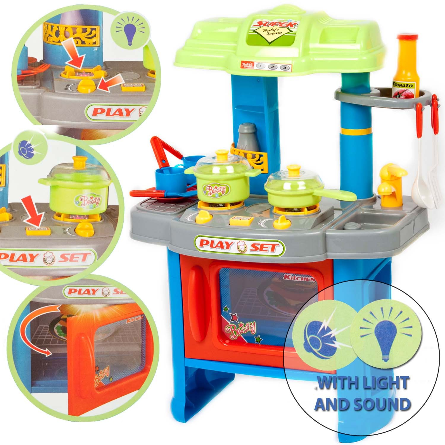 29 piece electronic kitchen cooking children 39 s play set for Kitchen set 008 82