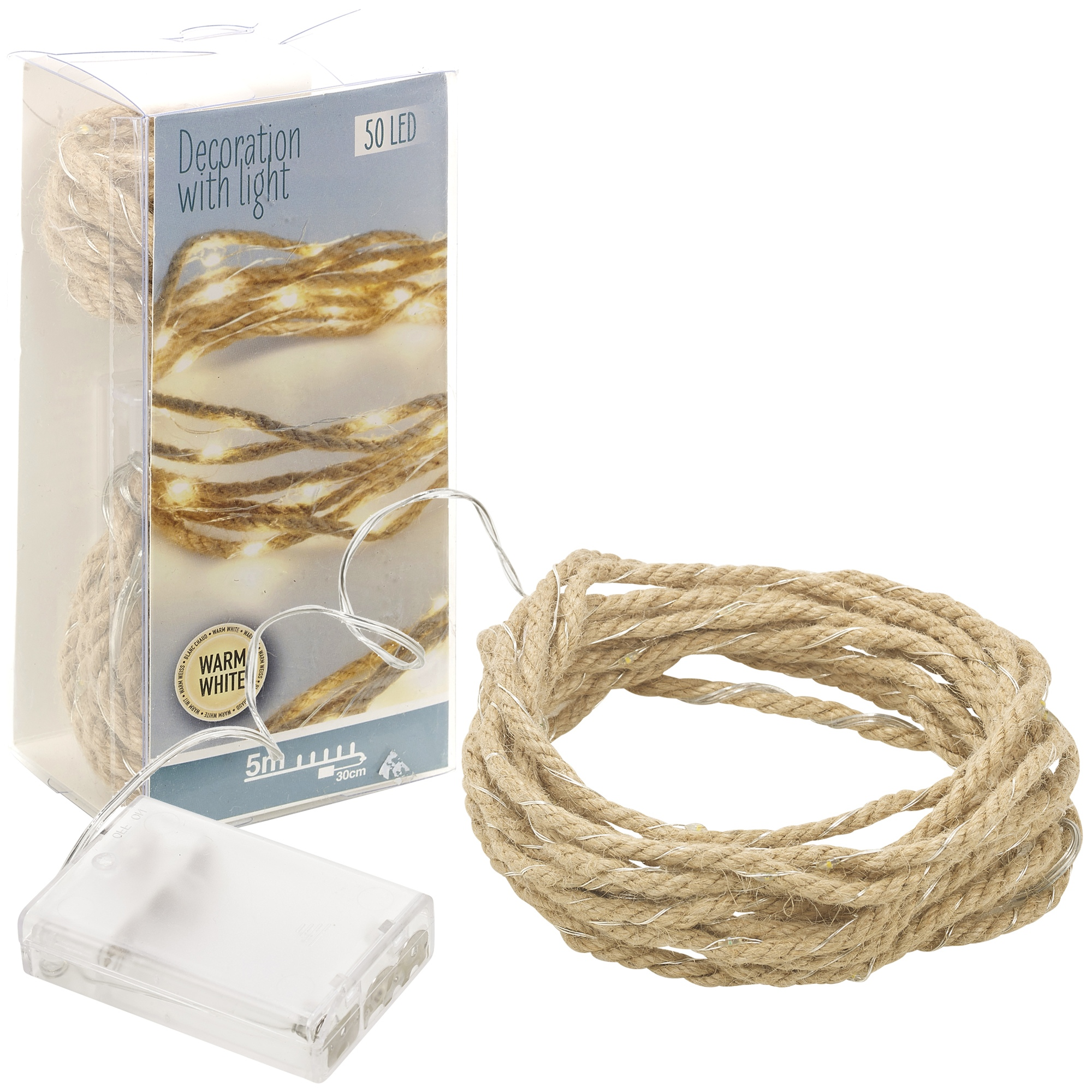 5m Natural Rope LED String Lights 50 Warm White Decorative Fairy Lights