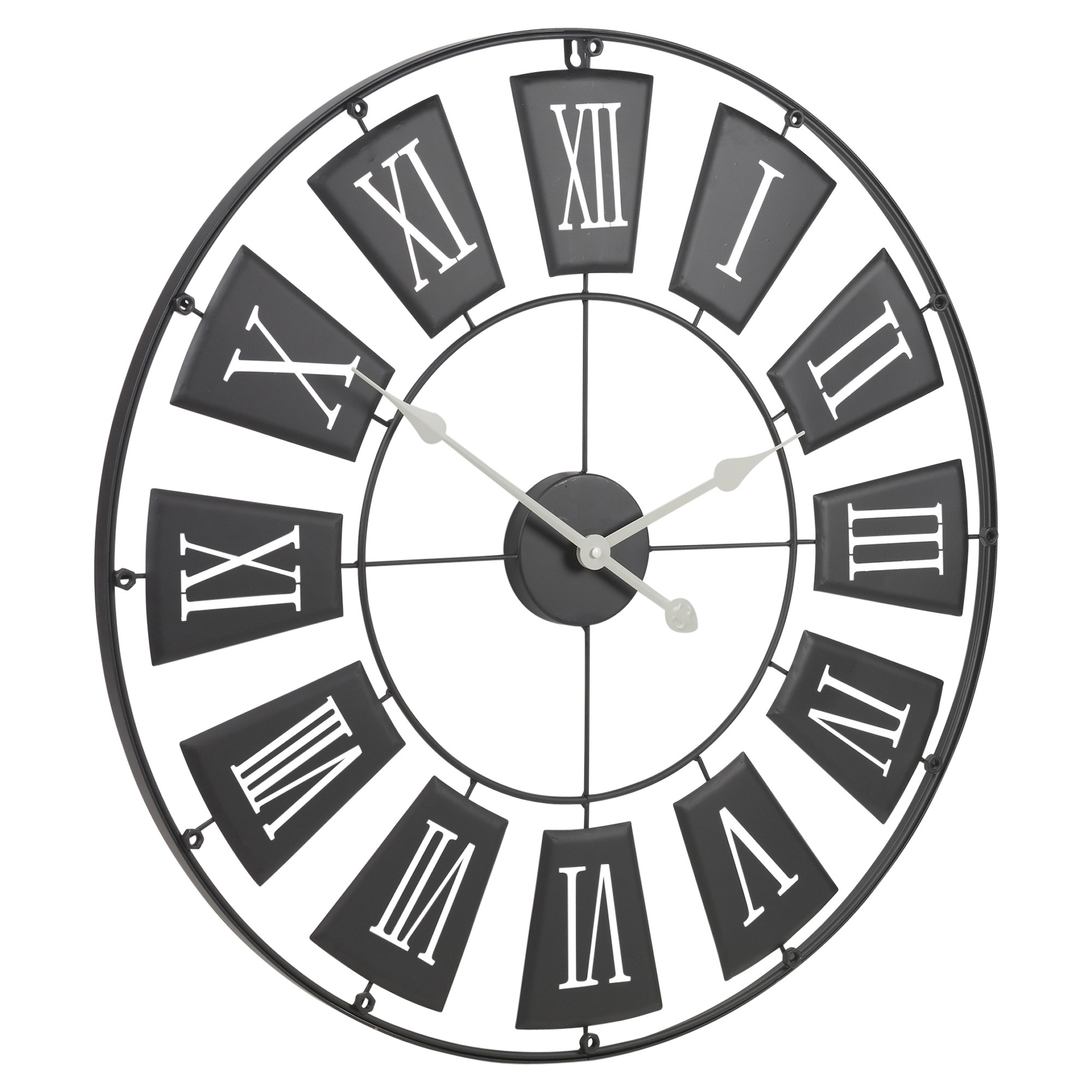 70cm Extra Large Metal Round Wall Clock Roman Numerals ...