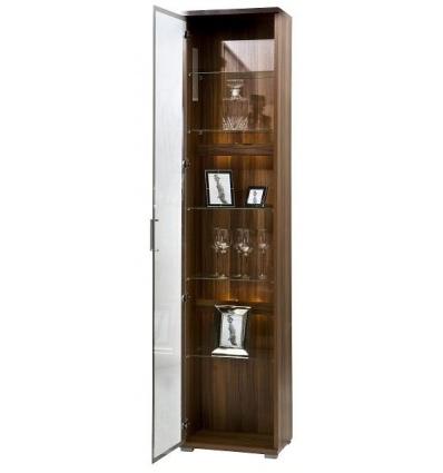 Tall Glass Display Cabinet Walnut