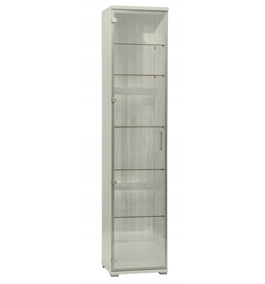 Tall Glass Display Cabinet - White