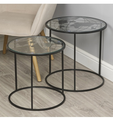 2 Nesting Side Tables with World Map 40cm Black [537295]