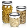 Stackable Glass Storage Jars With Grey & White Lids