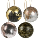 Metallic Hanging World Globe Baubles 4 Ass [552151]