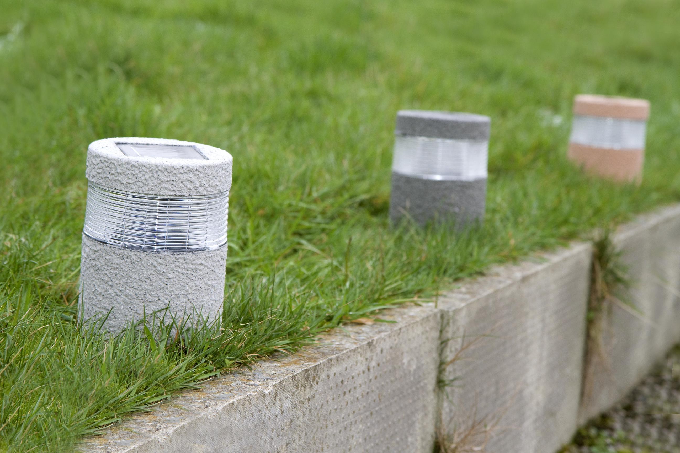 Solar Powered Led Lights Stone Effect Lamp Garden Path Driveway Outdoor Lighting Ebay