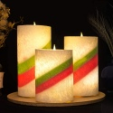 3 Xmas Coloured Wax Flameless LED Pillar Candles with 5 Hr Timer [X000WTP8U9]