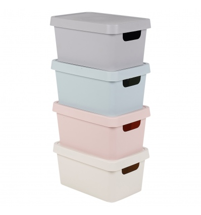3.6L X-Small Pastel Coloured Lidded Storage Boxes