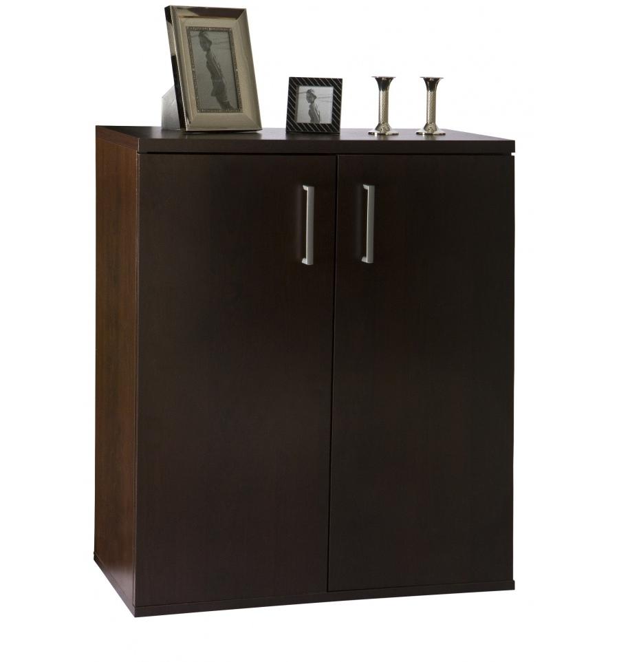 Two Door Five Shelf Cabinet Tobacco