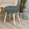 Round Cushioned Stool With 4 Wooden Legs [899481]