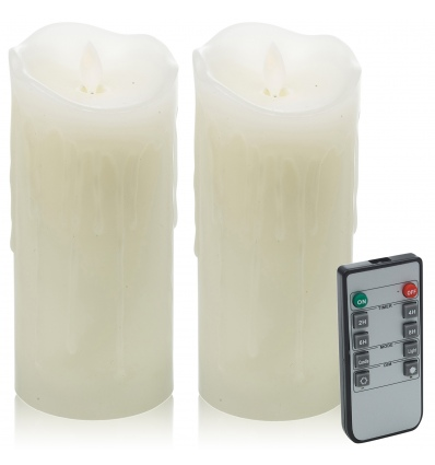 """2 x 7"""" Flickering Pillar Candle Lights with Remote [X000PCIXIR]"""