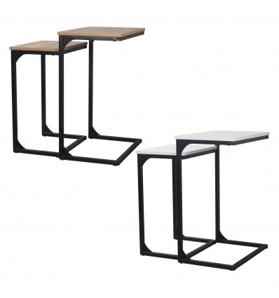 Seville Set of 2 Wooden Side Tables With Metal Legs [DAFA-007]