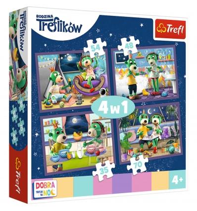 """Puzzles - """"4in1"""" -Evening Trefliks rituals - Good night, Trefliks for the night / Studio Trefl Rodzina Treflikow [34370]"""