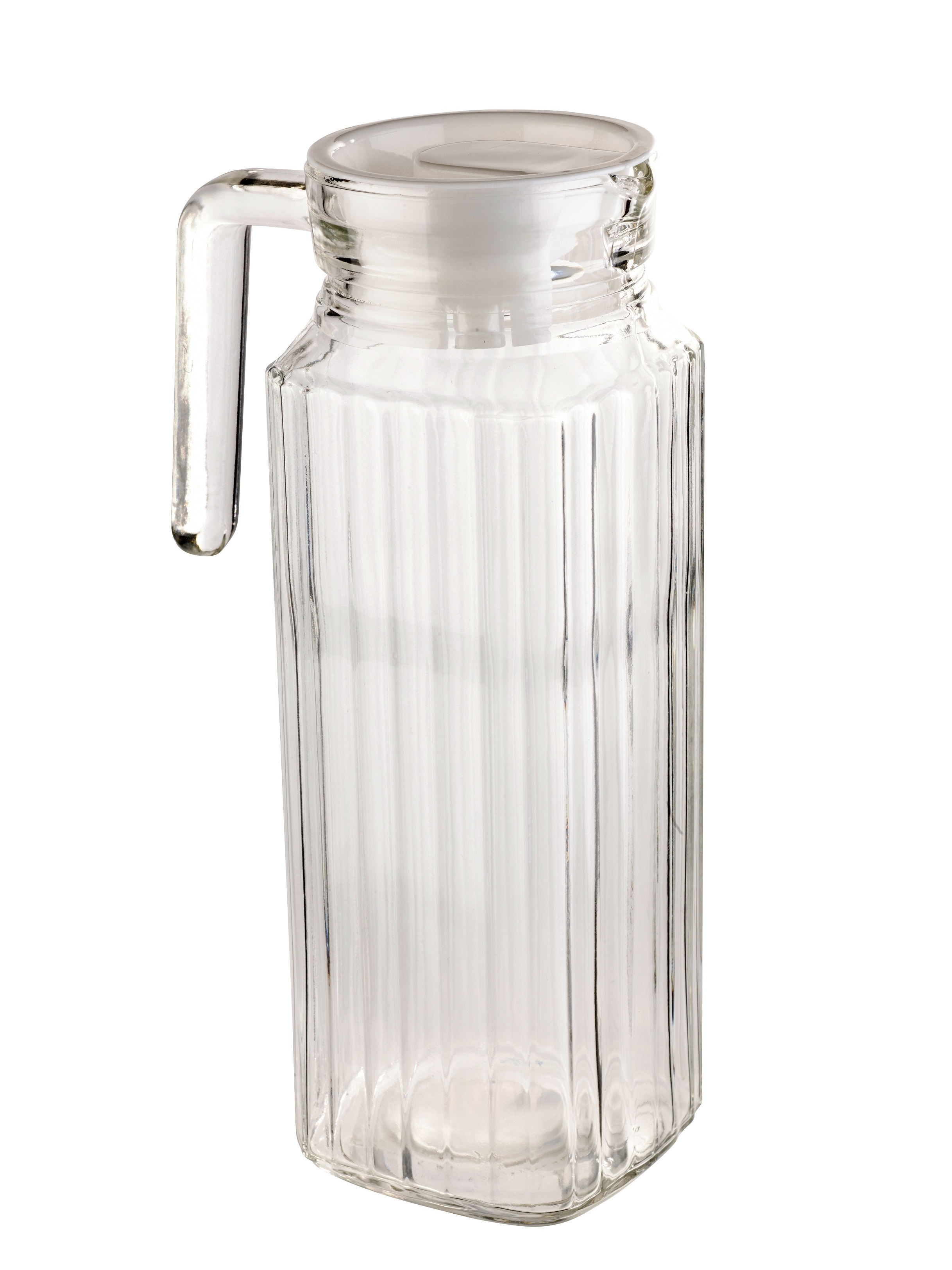1 Litre Square Glass Jug With Lid Pitcher Juice Water