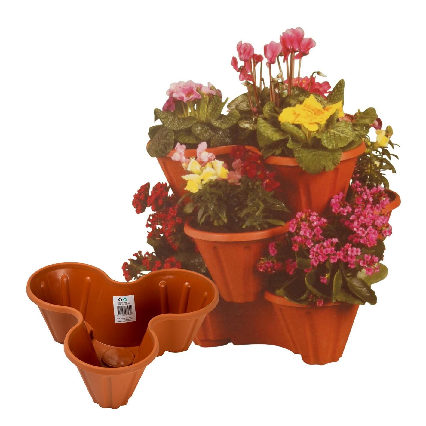 Stackable Plastic 3 Plants Flower Pots Pot Holder Strawberry Herb