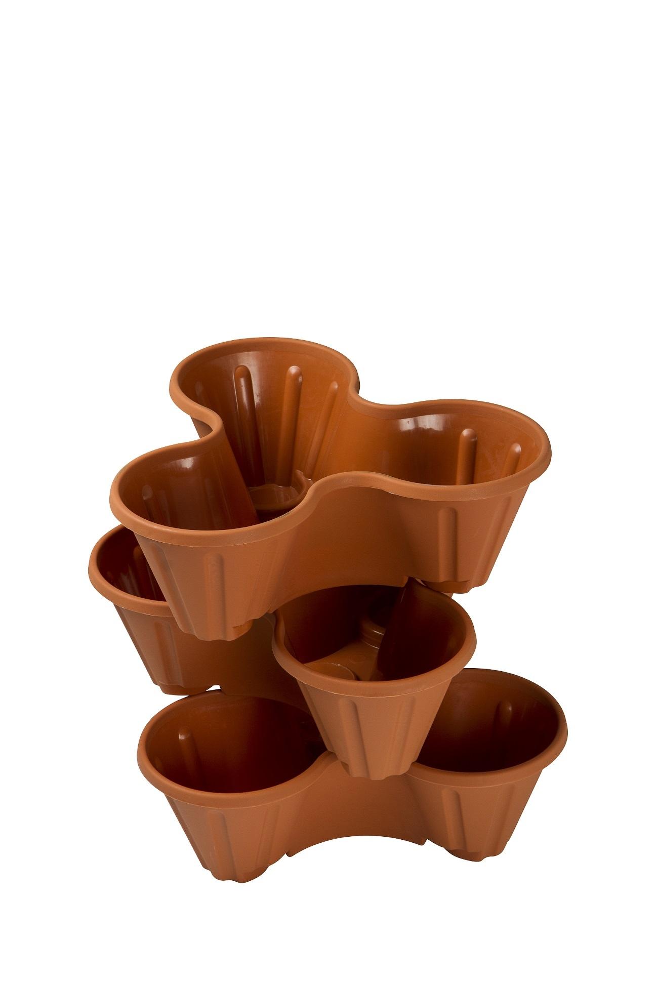 empilable plastique 3 plantes pots de fleurs pot support fraises herbe ebay. Black Bedroom Furniture Sets. Home Design Ideas