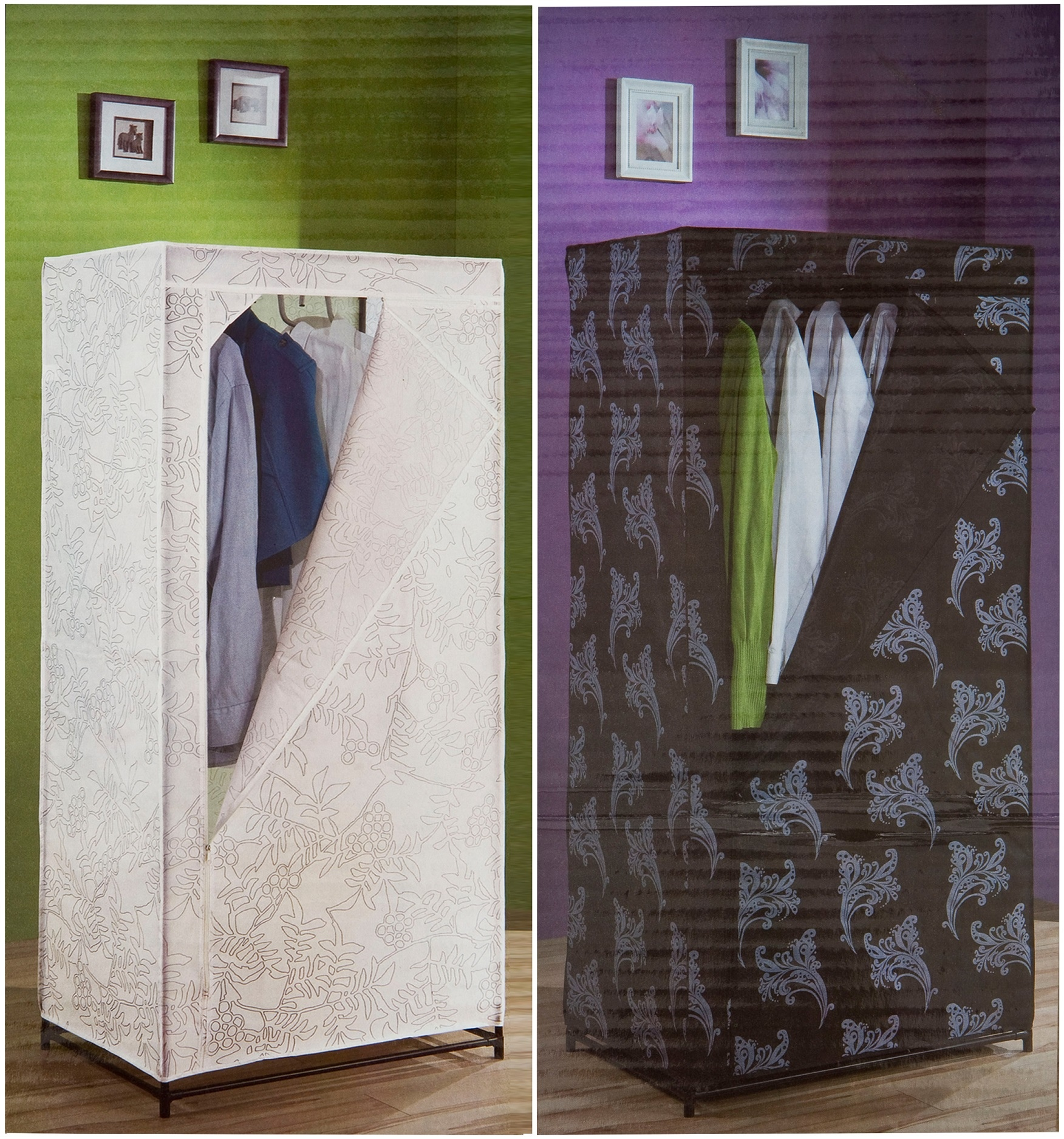 Canvas Storage Boxes For Wardrobes: Quality Single Canvas Wardrobe Clothes Cupboard + Hanging