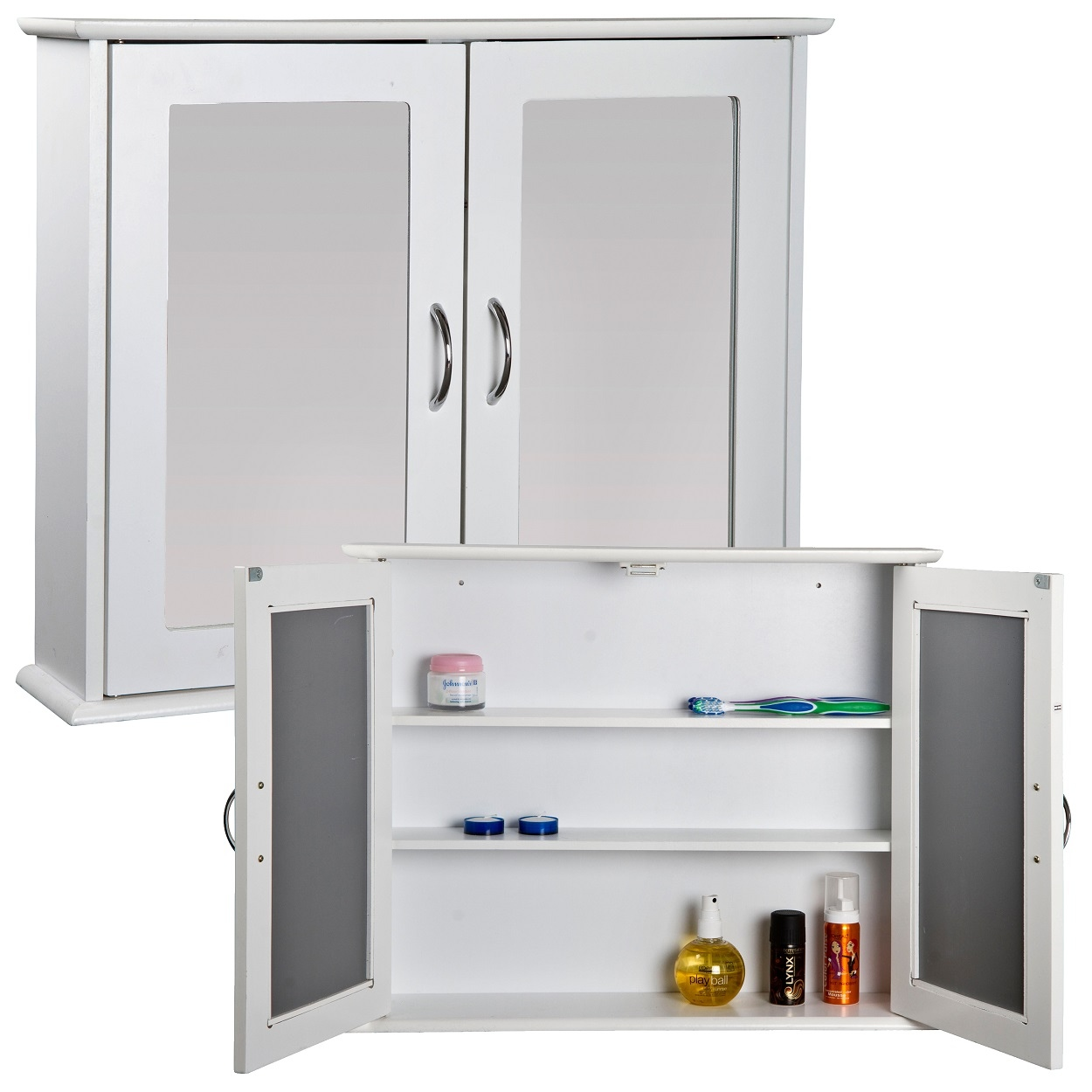 White Mirrored Double Door Bathroom Cabinet Storage Cupboard Wall Mount Unit MDF