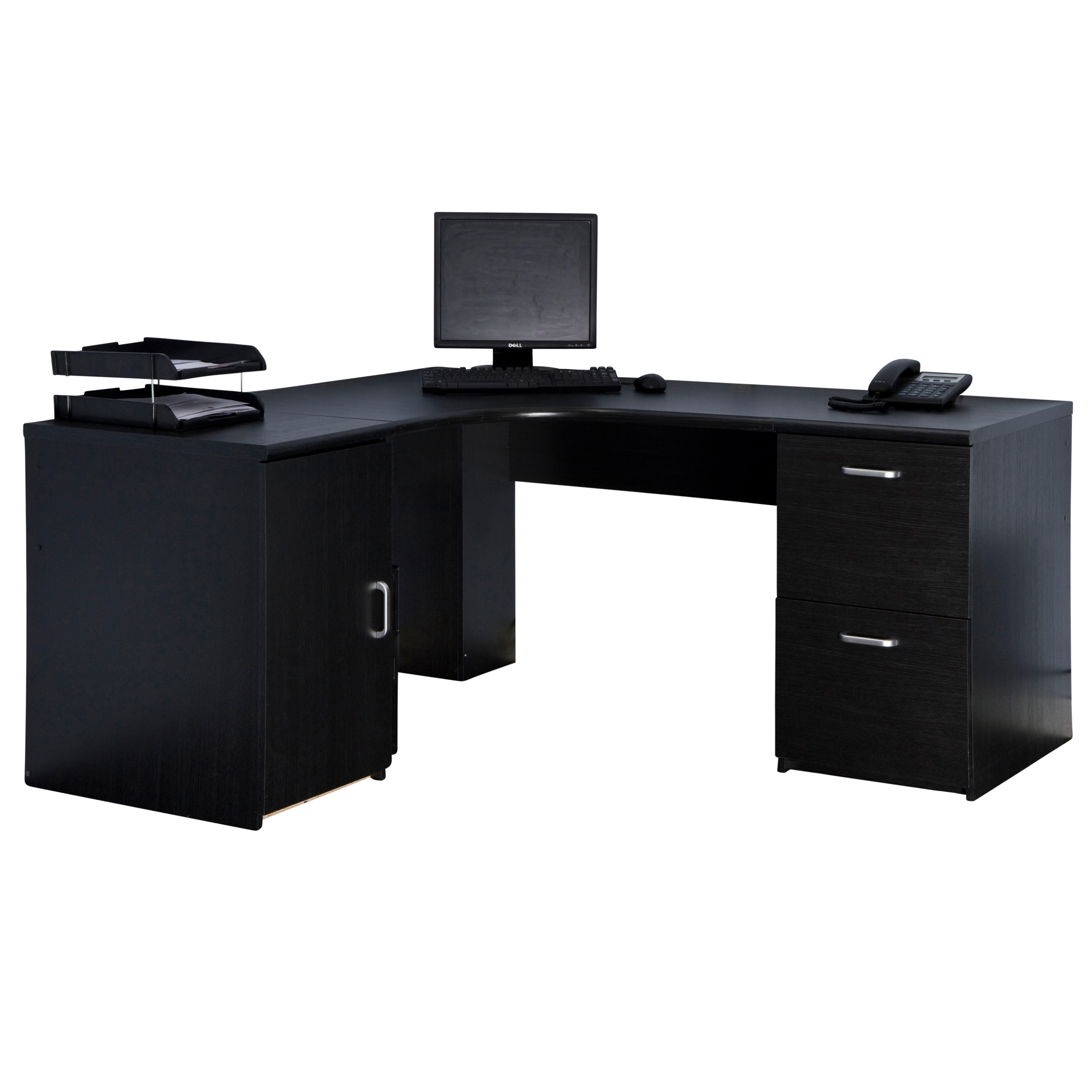 Marino Black Computer Corner Desk Workstation Pedestals