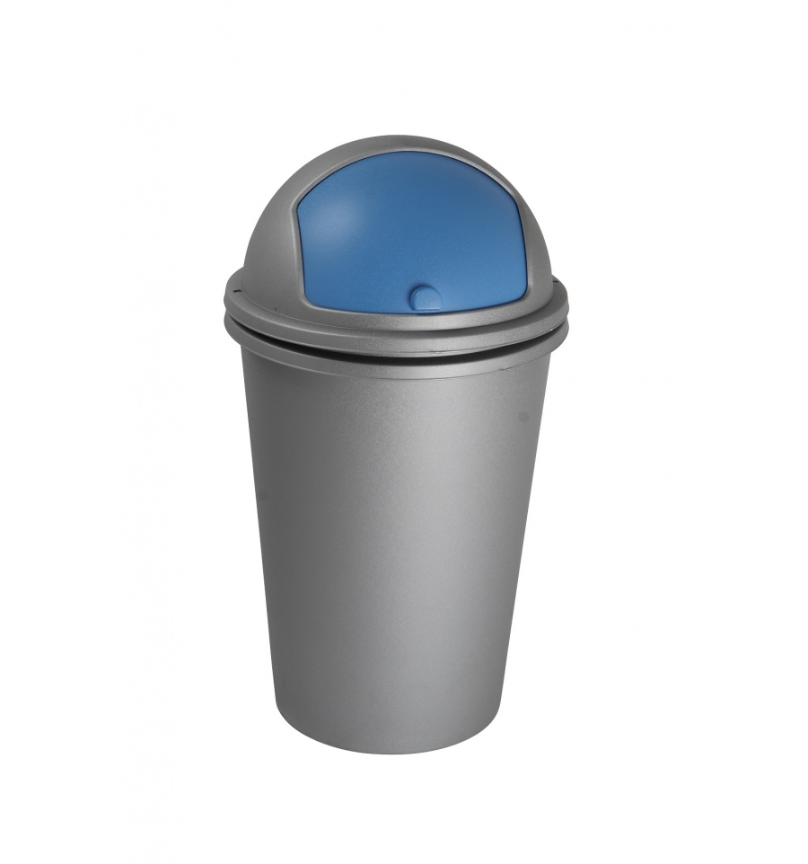 Blue recycling bin with lid